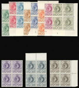 Swaziland 1938 KGVI set complete in blocks of four superb MNH. SG 28-38a.
