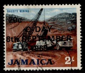 JAMAICA QEII SG288, 20c on 2s red-brown, black & light blue, FINE USED.
