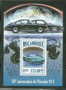 MOZAMBIQUE 2013 50th ANNIVERSARY OF THE PORSCHE 911  SOUVENIR SHEET  MINT NH
