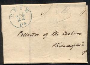 PENNSYLVANIA, Erie, 1845, SFL to Philadelphia, blue cancel, VF