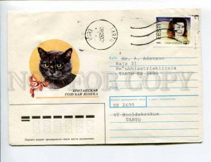 413115 ESTONIA 1993 year Usova British blue cat real posted Tartu cover