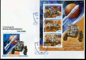 CHAD  2021 LANDING OF PERSERVERANCE ON MARS SHEET FIRST DAY COVER