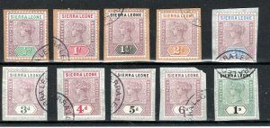 Sierra Leone 1896-97 values to 1s FU CDS all on piece