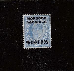GB-MOROCCO AGENCIES # 48 VF-MH 25c on 21/2d  KEVII O/PRINT 25 CENTIMOS CAT $43