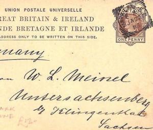 GB SQUARED CIRCLE Superb *Mark Lane* Stationery Postcard MUSIC DEALER 1883 CB153