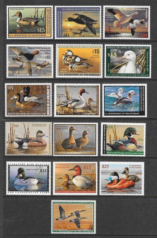 RW68-RW84 Duck Stamps, MNH, Scv: $477.50. Free Insured Shipping