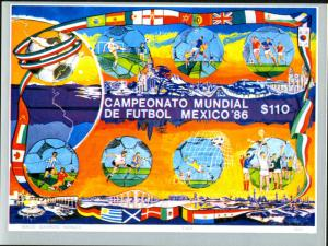 Mexico MNH S/S 1444 World Cup Soccer Mexico 1986 SCV 6.00