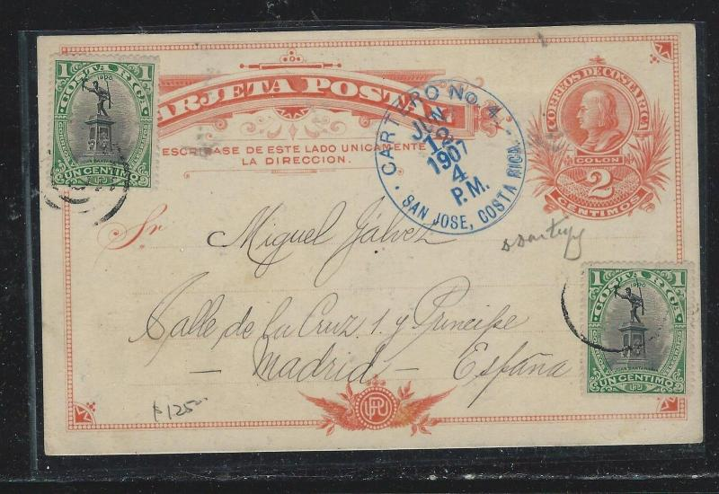 COSTA RICA (P2309B) 1907 2C PSC UPRATED 1C X2  TO MADRID SPAIN