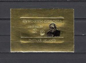 Davaar Is. 1974 Local issue. Sir Winston Churchill on Gold Foil issue.