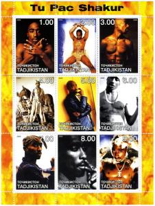 Tajikistan 2000 TU PAC SHAKUR American Hip-Hop Sheet (9) Perforated Mint (NH)