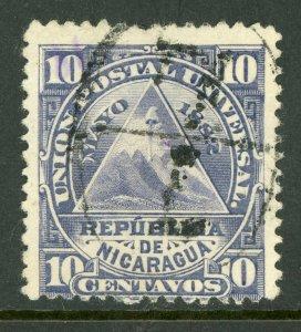 Nicaragua 1882 ABNC 10¢ w/ Full Leon Type 1 Cancel VFU L791