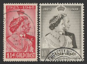 GOLD COAST 1948 KGVI Silver Wedding set 1½d & 10/-.