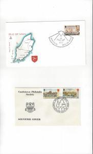 Isle of Man Castletown Anniversary Cachet 1975 & Douglas Special Cachet 1976