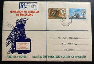 1961 Kitwe Southern Rhodesia First Day Cover FDC To Bulawayo Philatelic Society