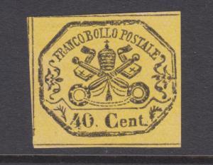 Roman States Sc 17 MNG. 1867 40c black on yellow Papal Arms, fresh