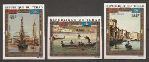 Chad C127-9 1972 Save Venice IMPERF set MNH