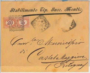 ITALIA REGNO storia postale: BUSTA da BOLOGNA con fbllo CADUTO e TASSATA! 1898