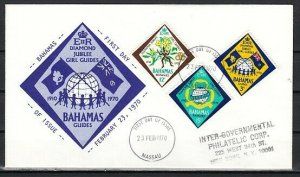 Bahamas, Scott cat. 298-300. Girl Scout Anniversary issue. First day cover.