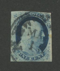 1852 US Stamp #9 1c Type IV Imperf Used F/VF Bullseye New York Postal Cancel
