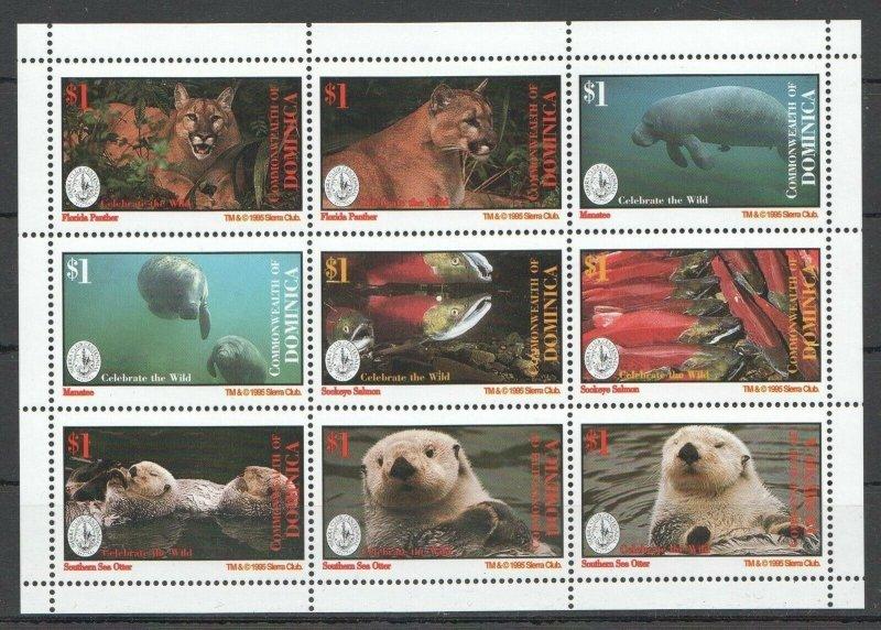 PK181 1995 DOMINICA FAUNA ANIMALS MARINE LIFE CELEBRATE THE WILD KB MNH STAMPS