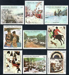 Paraguay 1079-1087,MNH.Paintings of Winter Scenes by Pissarro,Utrillo,Monet,1968