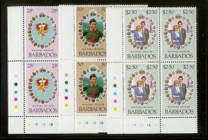 BARBADOS Sc#547-549 Complete Mint Never Hinged PLATE BLOCK Set