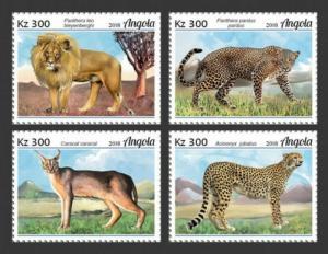 Angola - 2019 Big Cats on Stamps - 4 Stamp Sheet - ANG18116a