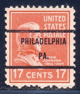 Philadelphia PA, 822-71 Bureau Precancel, 17¢ Johnson
