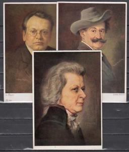 Russia, 1958 Post Cards. Composers Mozart, Strauss and Max Reger. ^