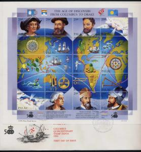 Palau 302 on FDC - Explorers, Ships, Map, Birds, Fish, Drake, Magellan, Columbus