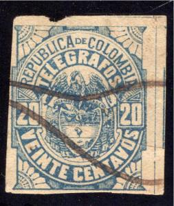1901, Colombia Telegraph, RH34, CE45a, Type 23, 20 centavos, used