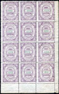Universal Private Telegraph Company 1/- Lilac with Green Control Block of 12