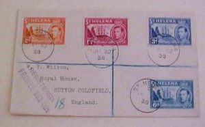 ST. HELENA  REGISTERED COVER  1938 JUNE 22 B/S ENGLAND
