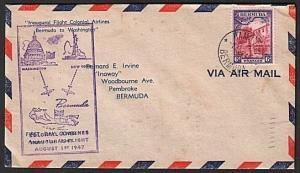 BERMUDA 1947 first flight cover to New Washington...................14042