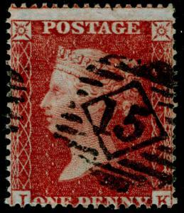 SG21, 1d red-brown PLATE 3, SC16 DIE II, USED. Cat £150.