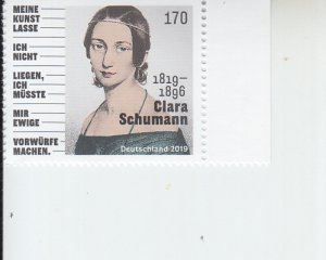 2019 Germany Clara Schumann Pianist (Scott NA) MNH