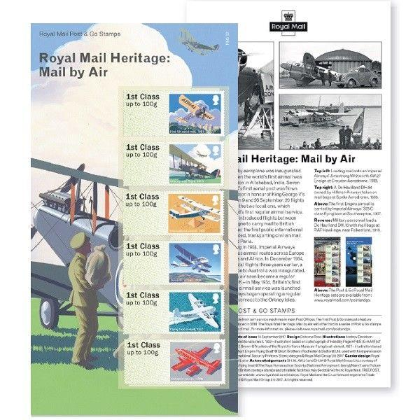 Uk Post Go Royal Mail Heritage Mail By Air Stamp Set Mnh