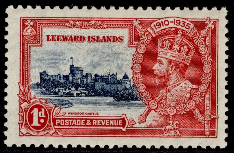 LEEWARD ISLANDS GV SG88, 1d deep blue & scarlet SILVER JUBILEE, M MINT.