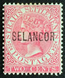 MALAYA 1885-91 SELANGOR opt STRAITS SETTLEMENTS QV MH SG#31 M2732