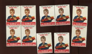10 VINTAGE FIRE PREVENTION WEEK 'PROTECT YOUR HOME/FAMILY' POSTER STAMPS (L1222)