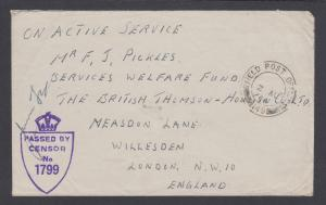 Great Britain Stampless 1944 Censored Field Post Office 149, Palestine-London