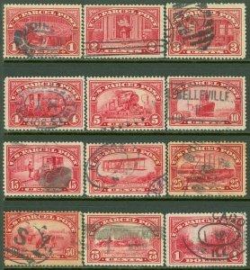 EDW1949SELL : USA 1913 Scott #Q1-12 Very Fine-Extra Fine, Used Nice set Cat $183