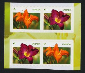 Canada 2529-30 Booklet Gutter pair MNH Flowers, Daylilies