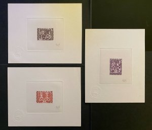 VERY RARE! LIMITED PRINTING 3 ARTIST PROOFS CHESS MALI 1977 / Echec with sign.