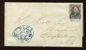 Scott 1 Var Pos 69R1 Cracked Plate 'Crack in T' Used Stamp on Cover with PF Cert