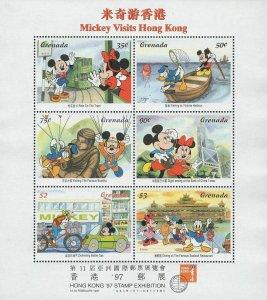 Disney Stamp Mickey Visits Hong Kong Souvenir Sheet of 6 Stamps Mint NH