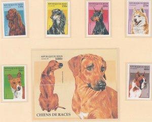 Benin 980-86 MNH 1997 Various Dogs Full Set w/Souvenir Sheet Very Fine
