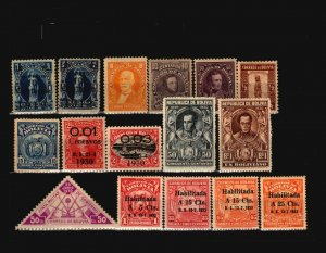 Bolivia 16 Mint and Used, some faults - C1896