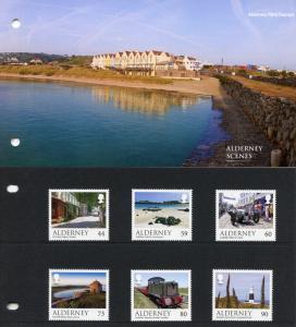 Alderney 2017 MNH Scenes Castles Lighthouses Trains 6v Set Pres Pack Stamps