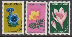 Andorra 238-40 Flowers mnh
